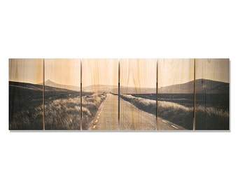 32x11 Road to Nowhere, Black and White Country Road on Cedar, Outdoor Safe Wall Hanging Art (RN3211)