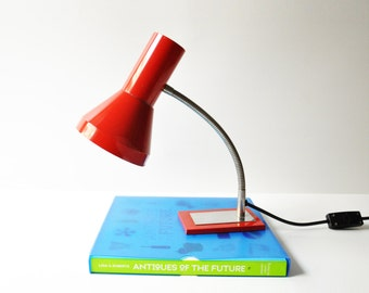Vintage Red Gooseneck Desk Lamp