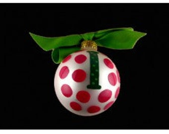 "Coton Pottery Hand Painted Green ""I"" Initial and Red Polka Dot Holiday Ornament with Ribbon Bow"