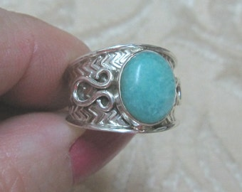 Amazonite Sterling Silver Ring Size 7