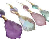 4 French 38mm Chandelier Crystals Pastel Assortment Pink AB Lilac Light Aqua