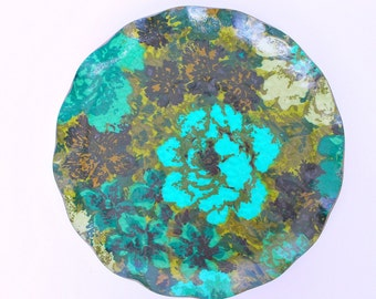 Turquoise Flower Print Fab Resin Tray Made in Canada