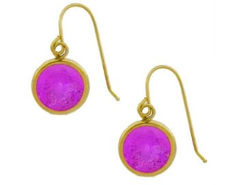 14Kt Yellow Gold Pink Sapphire Round Bezel Dangle Earrings