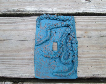 Octopus, modern design, Light switchplate cover, hand painted, teal and gold colors, tentacles