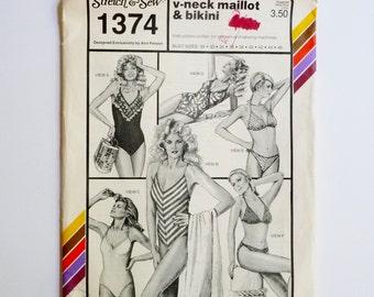 V Neck Maillot Bathing Suit, Halter Bikini, Optional Ruffles Stretch & Sew 1374 Sewing Pattern Bust Sizes 30 32 34 36 38 40 42 44 46 UNCUT