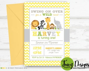 JUNGLE ANIMALS INVITATION, Printable Jungle Invitation, Safari Animals Invitation, First Birthday Jungle Invitation, Jungle Printable