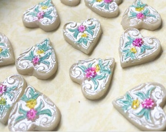 big value 24 pcs of hand painted pearlized heart resin cabochon  15x15mm