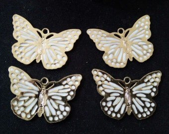 6 pcs of gold butterfly with white enamel-30x20-1151-white and gold