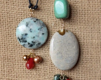 Stone necklaces on leather