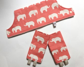 Drool Pads & Bib ORGANIC Set - Coral Elephants // Organic Cotton with Organic Bamboo Fleece
