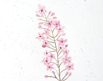 Cherry blossom art original watercolour gift for her 10 X 14 inches