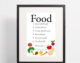 Food Printable Kitchen Art - Vegetables - Kitchen Art - 11x14 instant download