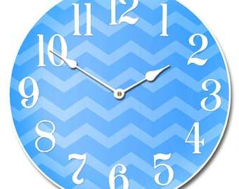 Chevron Blue Wall Clock