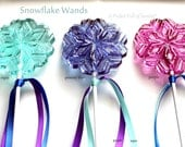 "Frozen Birthday Party Favors, Snowflake Wands, Snowflake Baby Shower, Frozen Snowflake,  8 LARGE Lollipops - includes 8"" stick/satin ribbon"