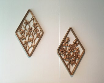 Two Gold Mid Century Flower Wall Plaques by Syroco Hollywood Regency