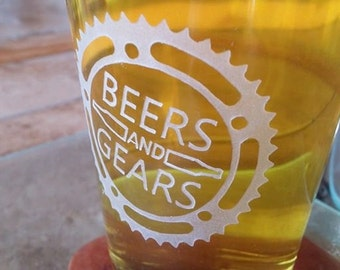 Beers and Gears Beer Glass, Etched Pint Glass, Guy Gift, Christmas Gift, Cyclist Gifts, Gift for Cyclist, Bicycle Gift, Gearhead Man Gift