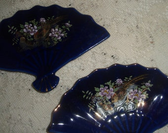 Two Vintage Asian Fan Dishes. Cobalt Blue Imperial Kiku style dishes fan shaped trinket dish, dresser tray,ring dish,pin dish or candy dish,