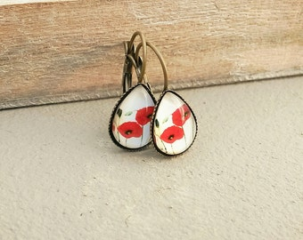 Poppies -Drop poppy earrings -red poppy earrings -Small teardrop 10 X 14 mm earrings,Dangle poppy earrings -poppy jewelry - girlfriend gift