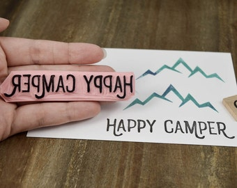 Happy Camper Rubber Stamp, Camping Rubber Stamp, Camper Rubber Stamp, Outdoors Rubber Stamp, RV Rubber Stamp, Tent Stamp, Hiking Stamp 048