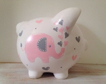 Personalized Hand Painted Piggy Bank With Elephant Theme