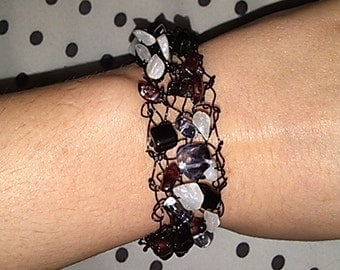 Black Knitted Wire Bracelet with Red, Black, Grey, and White Beads