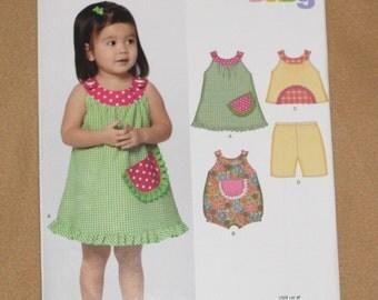 Uncut Pattern - New Look 6903 - Infant dress, top, romper and capri - 4 sizes - NB, S, M, L