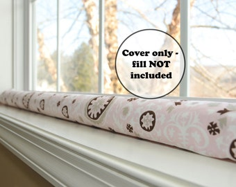 extra long or short door draft stopper cover, custom length window draught excluder sleeve, pink brown wind blocker, breeze guard, washable