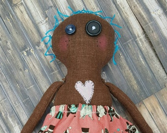 Handmade cloth doll, Rag doll, fabric doll,button eyes, Plush doll,removable clothing,blue hair,Gift for girl,Odd doll,Doll for her,muneca