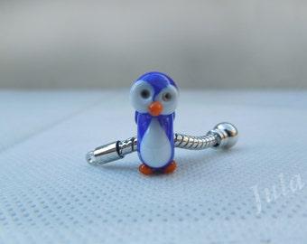 Penguin, Pandora bead, European bead, Penguin charm, Lampwork bead