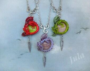 Dragon, Pendant dragon, Necklace dragon, Jewelry dragon, Lampwork dragon, Blue dragon