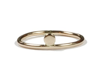 Rising Moon. 14k gold ring.