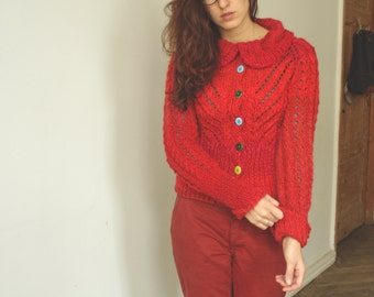 Handmade bright red natural wool women cardigan with buttons