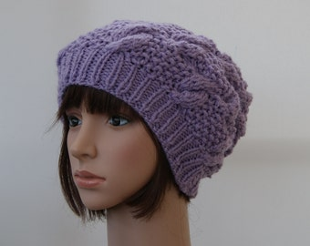 Chunky knit cable beanie in Lavender/Slouchy Beanie/Knitted hat/Beanie hat
