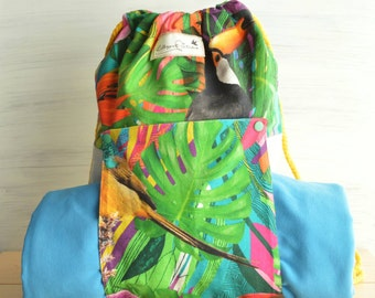 "BEACH BAG ""Tropical"" to carry towel  -- Mediterranean Style"