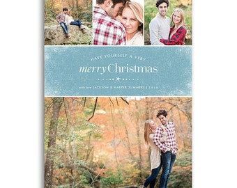 ON SALE Holiday Card Template for Photographers - 5x7 Flat Card - FROSTED - 1484