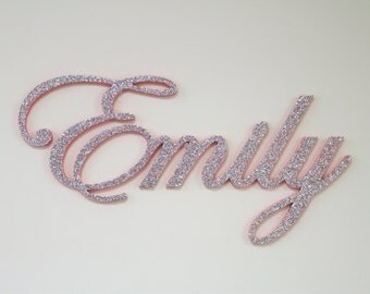 Wall Decor Wooden Name Wall Hanging name plaque sign GLITTERED  nursery name baby name nursery decor wooden wall art above a crib