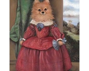 Pomeranian Art, Prints, Lady Pom Pom, Funny Pet GIft, Dogs In Clothes