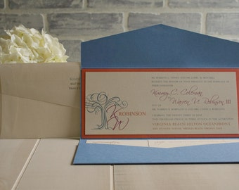 4x9 Horizontal Pocket fold Wedding Invitation