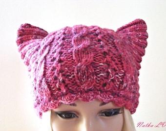 Raspberry pink cat hat, knit women's cat hat, hand knittedcat ear hat, cable beanie, animal hat, handmade, autumn winter hat, teens hat