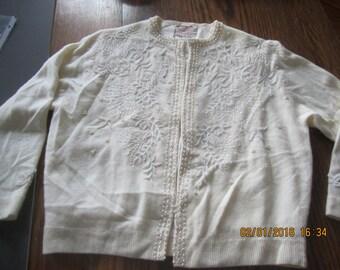 Amazing Beaded Angora Vintage Sweater White Tons of Beads