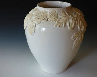 white on white vase