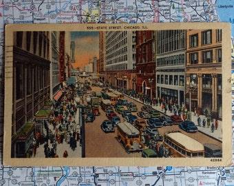 Vintage linen postcard - 1947, State St., Chicago, Illinois