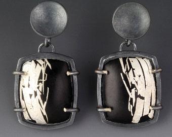 Art Deco Earrings Black Enamel Silver Post Dangle