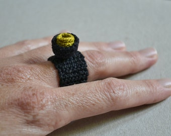 Black crochet ring- textile jewelry- fiber ring- soft jewelry- minimal style- choose colour- gift for her- black ring with red or mustard
