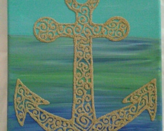 Blue, Purple, and Green Sand Art Decorative Wall Hanging
