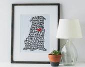 Pug Illustration Print