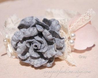 Cute collar for small dog.wedding dog collar.flower dog collar,Gray Flower dog collar,Birthday gift for dog.pet fashion.