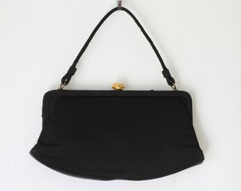 Crown Lewis Black Silk Fabric Evening Bag/ Vintage Lewis Satin Fabric Clutch Handbag/ Black Wristlet Purse