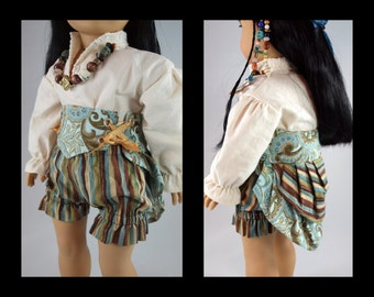 """Waist Cincher Bustle - 18"""" doll costume clothes, reversible front panel, pirate, steampunk, maiden, boy girl doll clothes, , American Made"""