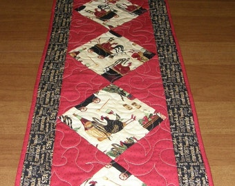 Chicken Whimsical Quilted Table Runner, Red Black Yellow Quilt, Red Black Quilted Table Topper, Red Black Table Runner, Wedding Gift Quilt